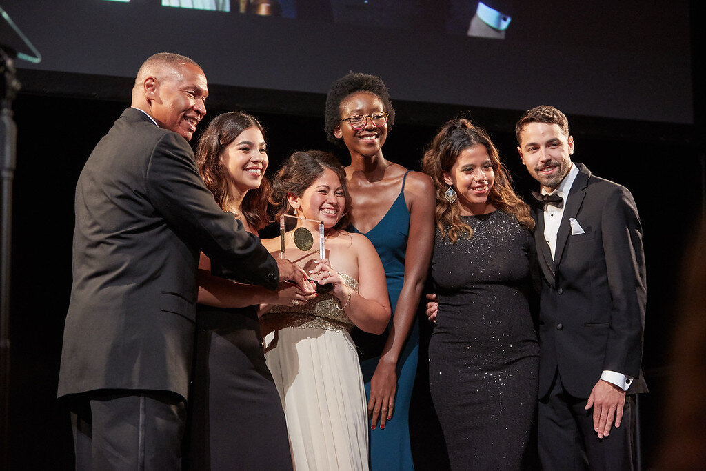 """The team from Montclair State University accepted a student Edward R. Murrow award for """"Montclair News Lab: Hurricane Recovery in Puerto Rico."""" Photo credit: David Nicholas Photography"""